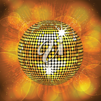 sparkling gold disco ball on a glowing star burst background