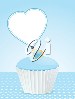 cupcake with blue icing and heart shaped message label