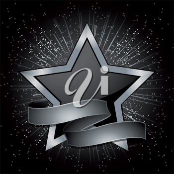 Black and silver star with silver banner
