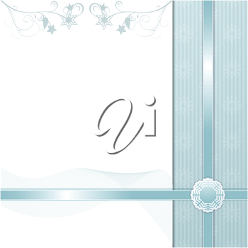 Christmas background with blue flourishes and ribbons