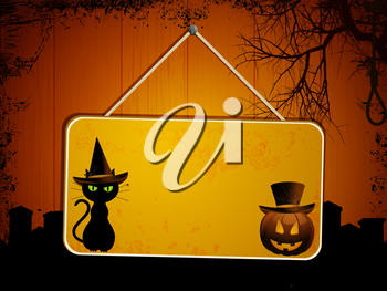 Halloween sign with black cat and pumpkin on a wooden background