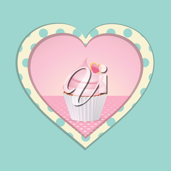 Cupcake with Pink Icing in a Heart with Blue Polka Dots on a Blue Background
