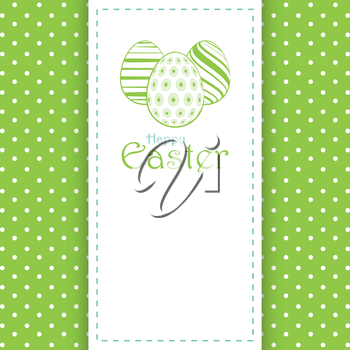 Easter Panel Background with Line Drawn Eggs and Message