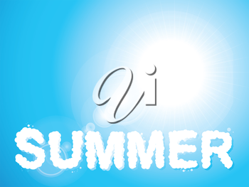 Summer cloud text on a blue sky background with lens flares