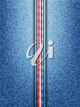 Denim Vector Background with Red and White Striped Seam