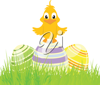 Easter Eggs and Cute Chick on Grass