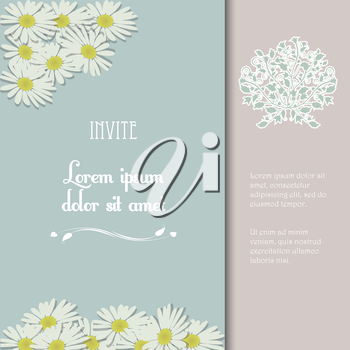 Invite with Vintage Colors Flowers and Sample Text
