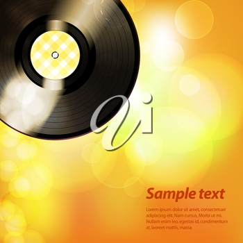 Summer Yellow Background with Vinyl Record and Sample Text