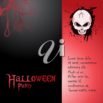Halloween Party Invite on Red and Black with Skull Hanging Robe Tree and Text