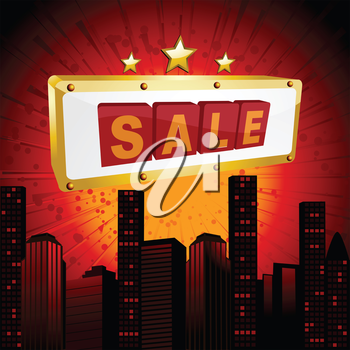 Gold and Red Sale Sign over Abstract Cityscape Background