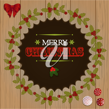 Christmas Wooden Cut Out Border with Text and Decorations