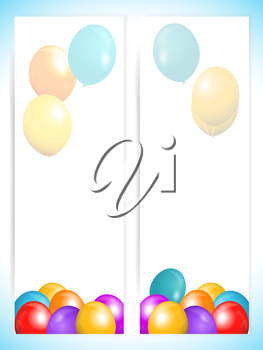 Two Vertical Panels with 3D Balloons and Shadows Over White and Blue Background