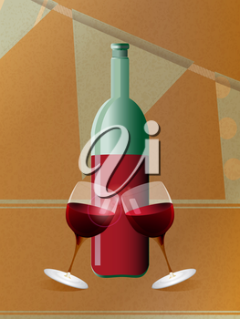 Red Wine Bottle and Tilting Glasses Over Brown Paper and Bunting Background