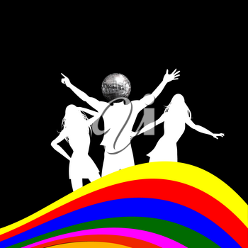 Dancing White Silhouettes Two Female and One Male with Disco Ball Head Over Black Background with Multicoloured Wave