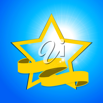 Bright Yellow Star with Banner Over Sunny Blue Sky Background
