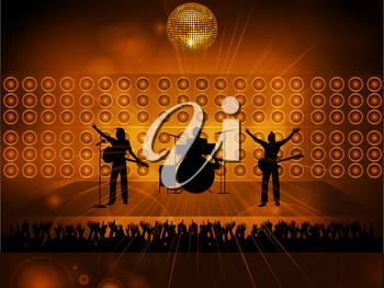 Rock Pop Music Band Silhouette on Stage with Loudspeakers Disco Ball and Crowd On Glowing Background