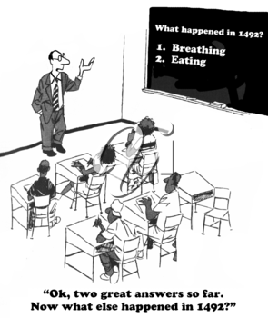 Royalty Free Clipart Image of a Teacher Teaching a Lesson to His Class