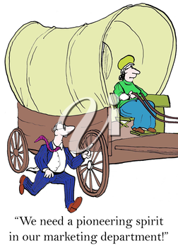 Royalty Free Clipart Image of a Businessman Chasing a Man in a Wagon