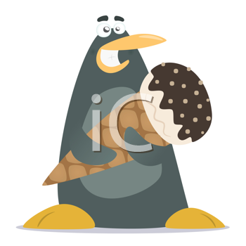 Royalty Free Clipart Image of a a Penguin Holding an Ice Cream Cone