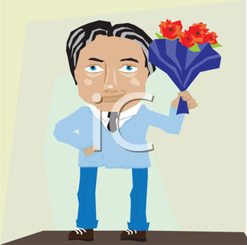 Royalty Free Clipart Image of a Man With a Bouquet of Flowers