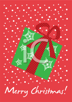 Royalty Free Clipart Image of a Merry Christmas Background With a Gift