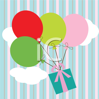 Royalty Free Clipart Image of Balloons With a Gift