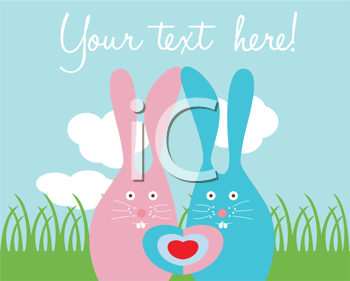 Royalty Free Clipart Image of Bunnies With Space for Text
