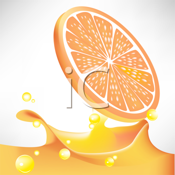 Royalty Free Clipart Image of an Orange Slice and Juice