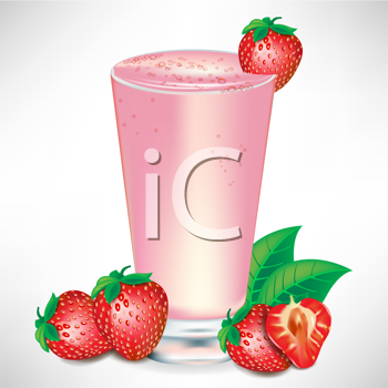 strawberry milkshake with strawberry fruit
