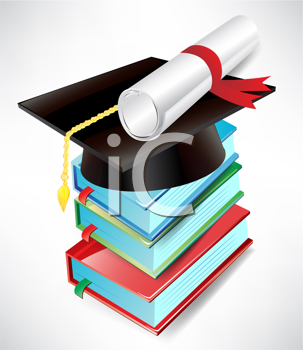 graduation cap, diploma and book pile isolated