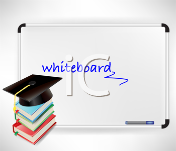 graduation cap and books on whiteboard