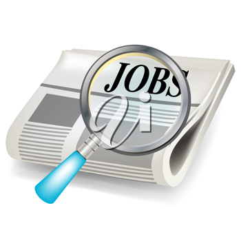 newspaper and magnifier job search concept isolated