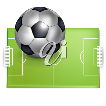 football field and football/soccer ball isolated