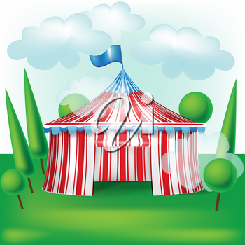 circus tent on grass background with trees