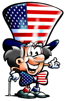 Royalty Free Clipart Image of a Man in American Clothes