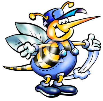Royalty Free Clipart Image of a Bumblebee in Work Clothes