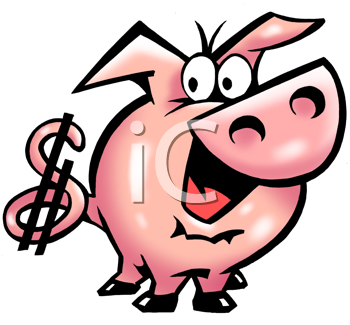 Royalty Free Clipart Image of a Pig With a Dollar Sign on Its Tale