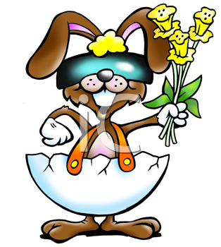 Rabbit in eggshell with a bouquet of daffodils