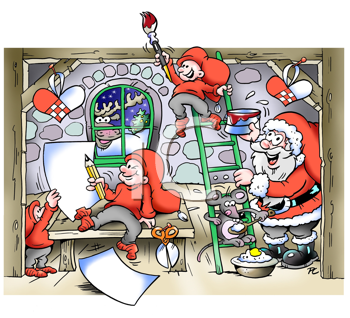 Santa Claus in his workshop in a busy month of December