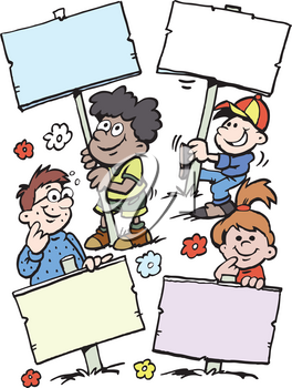Cartoon Vector illustration of of some happy children holding signs