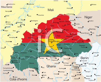 Royalty Free Clipart Image of a Map of Burkina Faso With the Flag on It