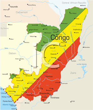 Royalty Free Clipart Image of a Map of the Congo With the Flag Painted on It