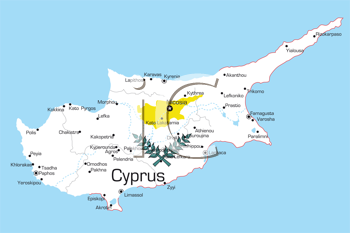 Royalty Free Clipart Image of a Map of Cyprus Painted Like Its Flag