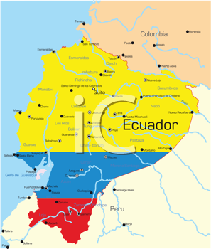 Royalty Free Clipart Image of a Map of Ecuador Painted Like the Flag