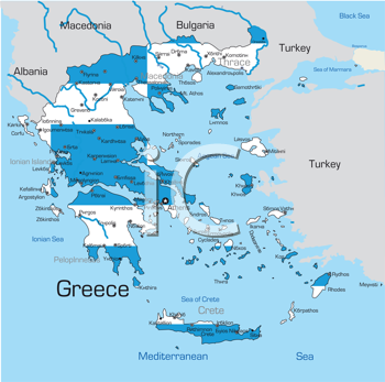 Royalty Free Clipart Image of a Map of Greece Coloured With the Flag