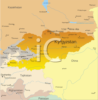 Royalty Free Clipart Image of a Map of Kyrgyzstan