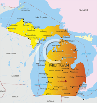 Royalty Free Clipart Image of a Map of Michigan