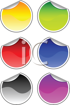Royalty Free Clipart Image of a Collection of Stickers