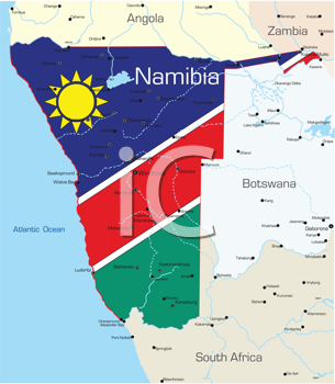 Royalty Free Clipart Image of a Map of Namibia With the Flag Painted on It