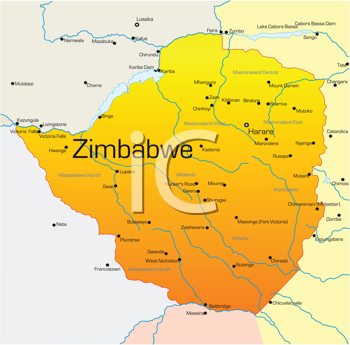 Royalty Free Clipart Image of a Map of Zimbabwe